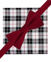 Tommy hilfiger Solid Bow Tie & Tartan Pocket Square Set in ...