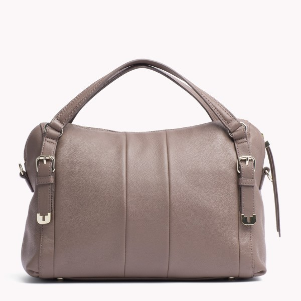 Tommy Hilfiger Pebbled Leather Satchel In Brown - Lyst