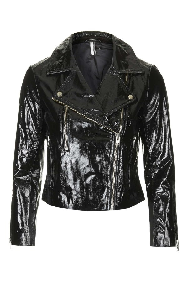 Topshop Patent Leather Biker Jacket In Black - Lyst