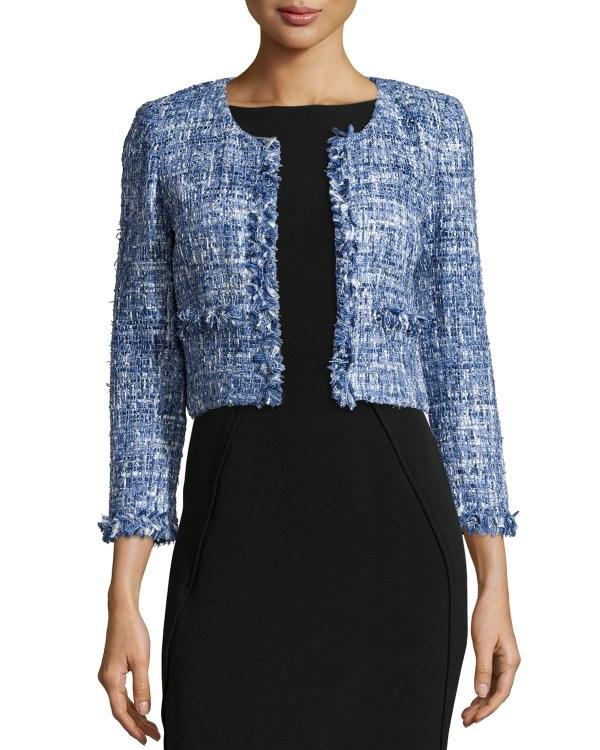 Oscar De La Renta Cropped Tweed Jacket In Blue Lyst