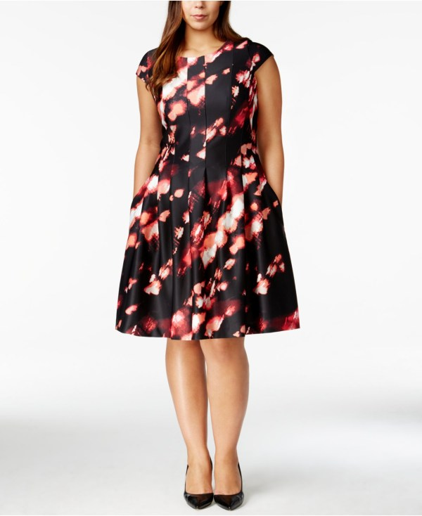 Calvin Klein Size Printed Fit & Flare Dress - Lyst