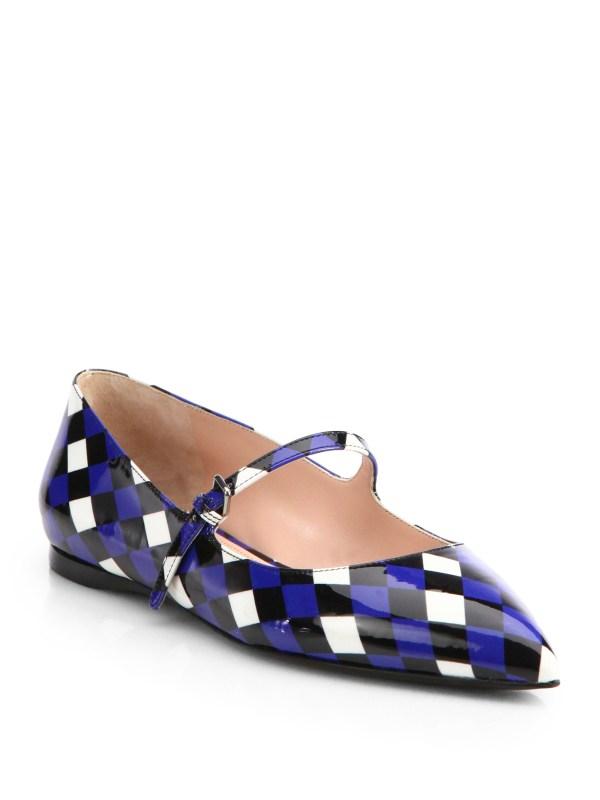 Miu Miu Diamondprint Patent Leather Ballet Flats in Blue