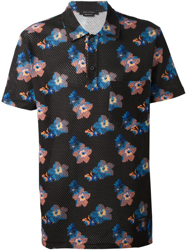 Lyst - Marc Jacobs Floral Print Polo Shirt In Black Men