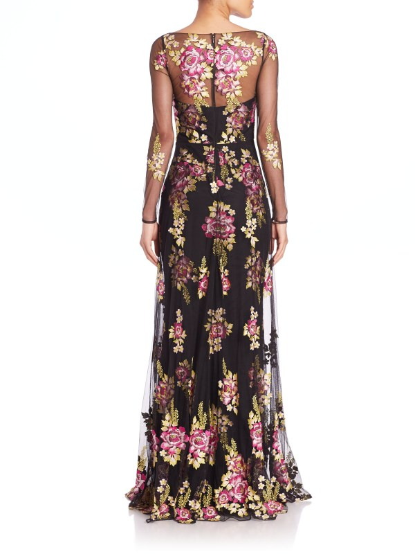 Lyst - Notte Marchesa Embroidered Tulle Gown In Black