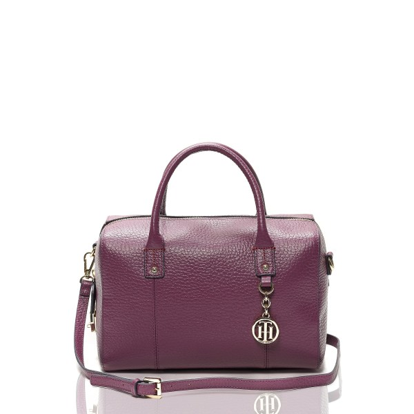 Tommy Hilfiger Medium Leather Dome Satchel In Purple
