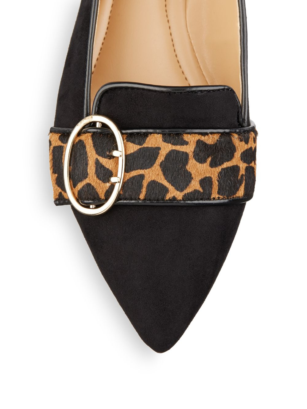 Ellen Tracy Fig Suede Amp Leopard Print Calf Hair Flats In