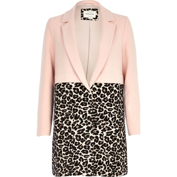 River Island Pink Leopard Print Two-tone Coat In Animal