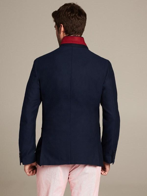 Banana Republic Modern Slim Fit Navy Cotton Blazer In Blue