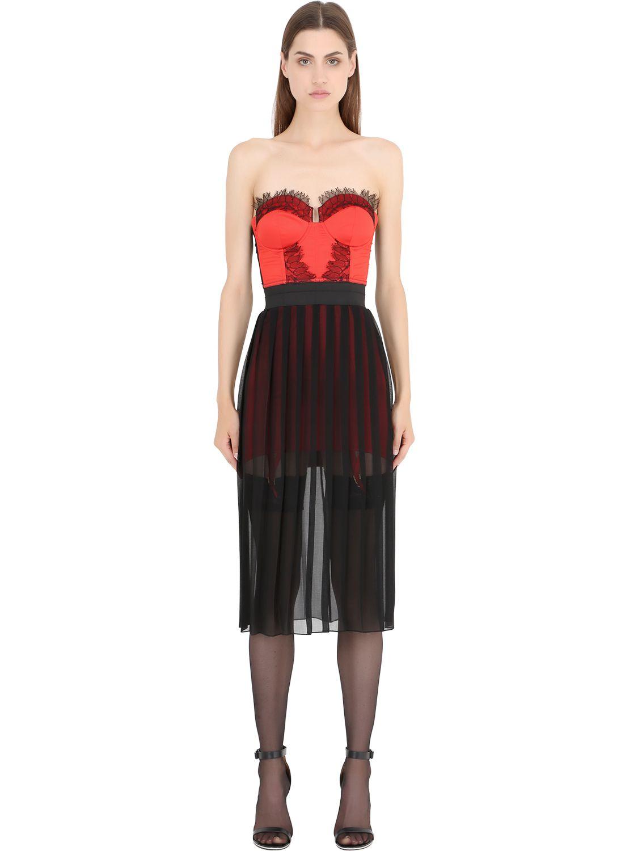 Lyst  Murmur Sugar Cotton Satin  Lace Corset Dress in Red