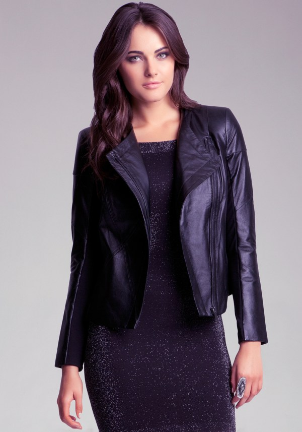 Lyst - Bebe Chris Leather Jacket In Black