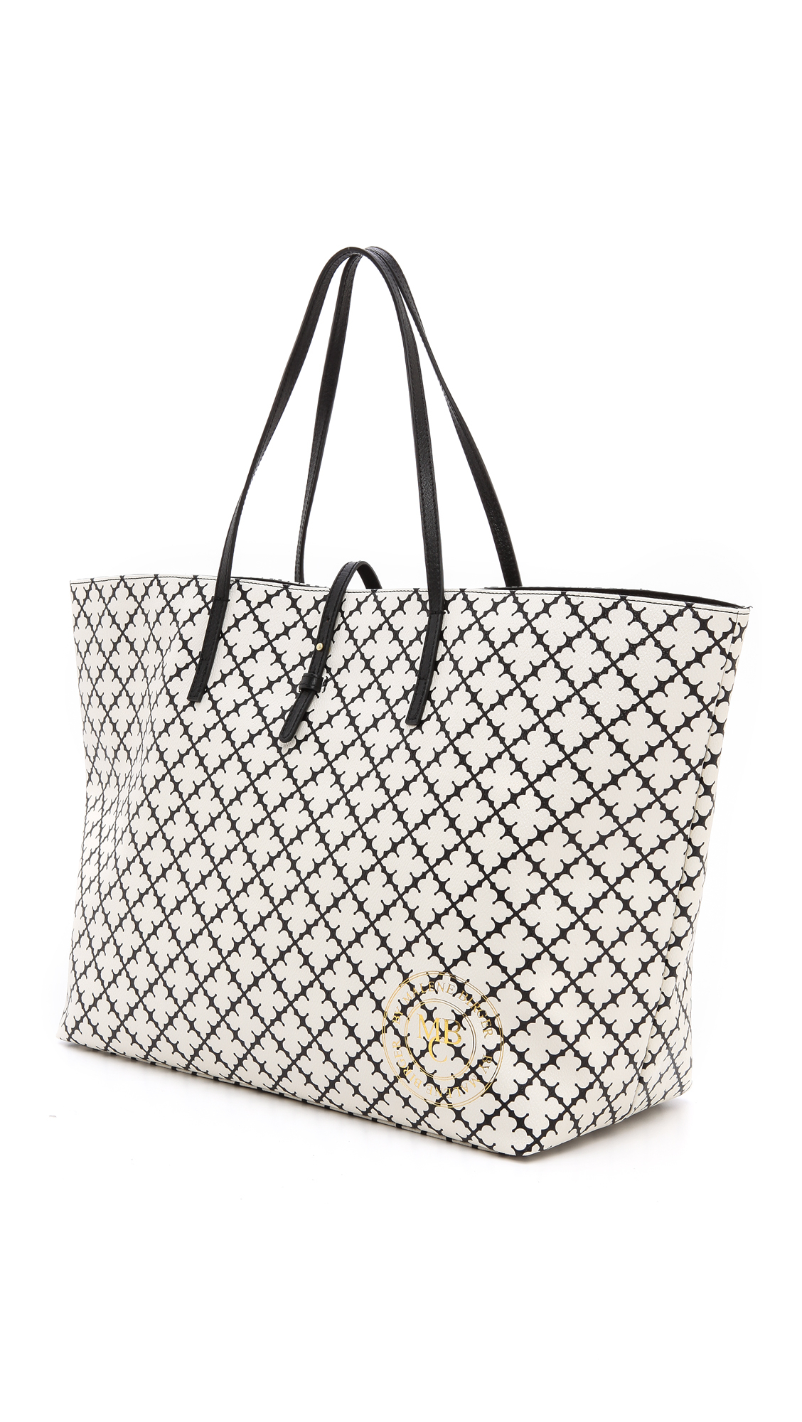 By Malene Birger Leather Grinolas Tote Bag In Cream Black