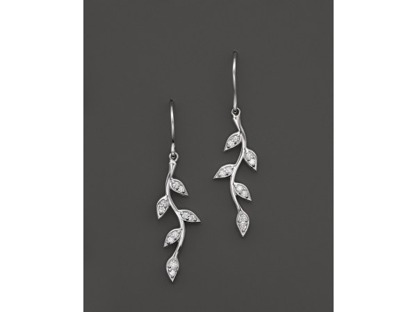 Kc Design Diamond Vine Drop Earrings In 14k White Gold