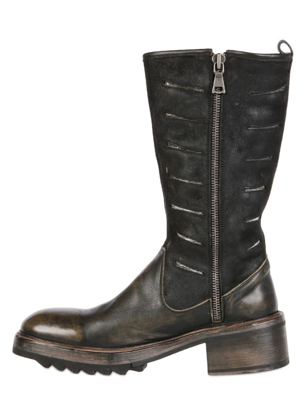 John Varvatos 55mm Tire Leather Suede Boots In Black Lyst