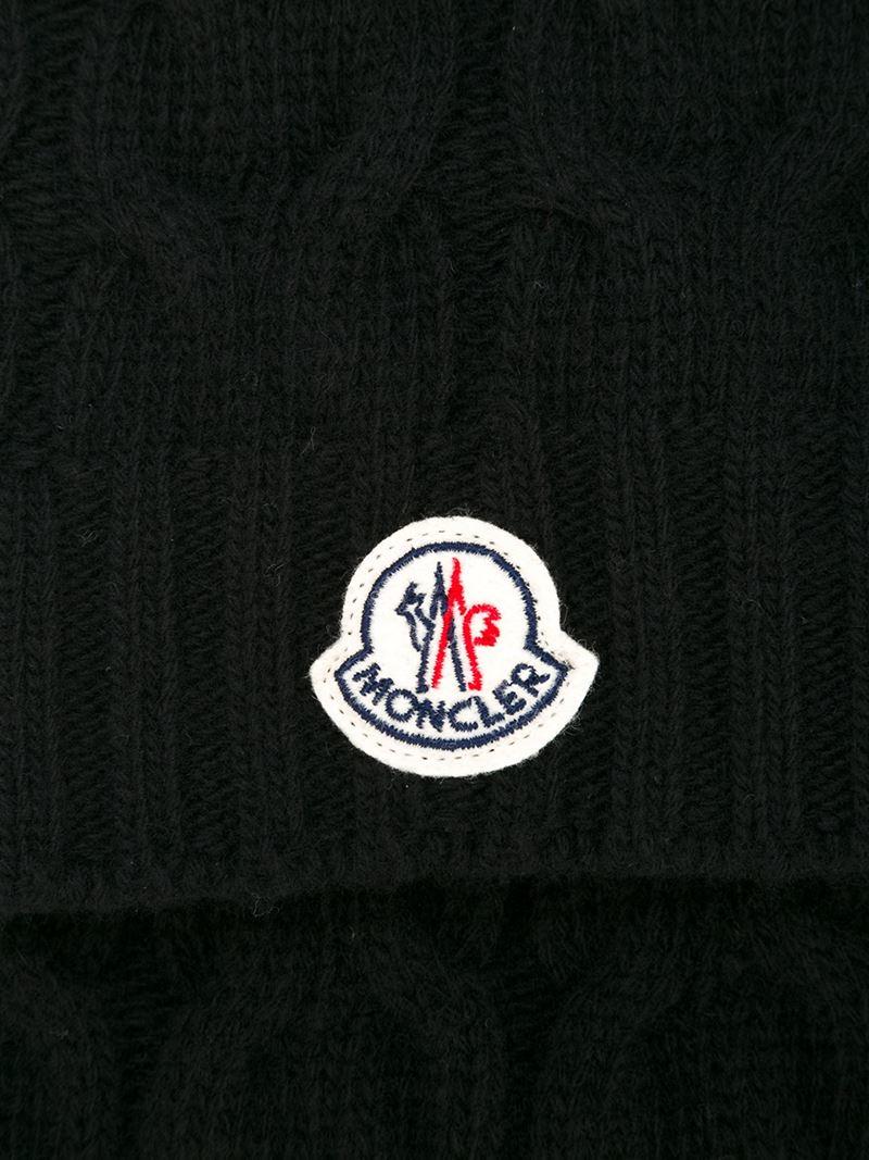 Black Dot Wallpaper Moncler Logo Patch Scarf In Black For Men Lyst