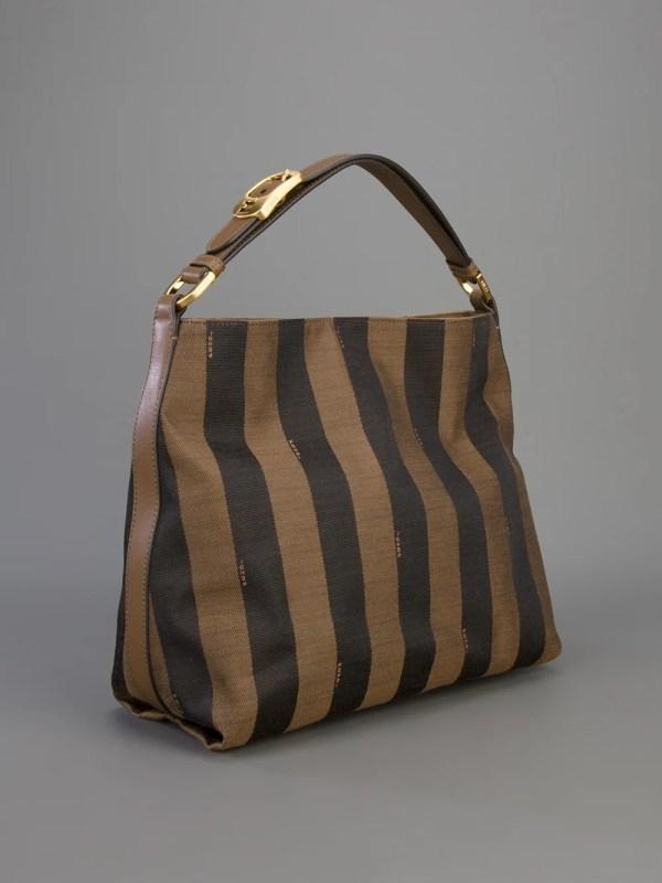 Lyst - Fendi Pequin Hobo Shoulder Bag In Brown