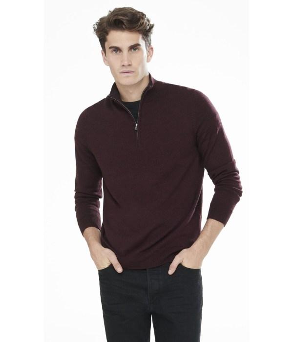 Lyst - Express Merino Wool Zip- Mock Neck Sweater Russian Ruby In Purple Men