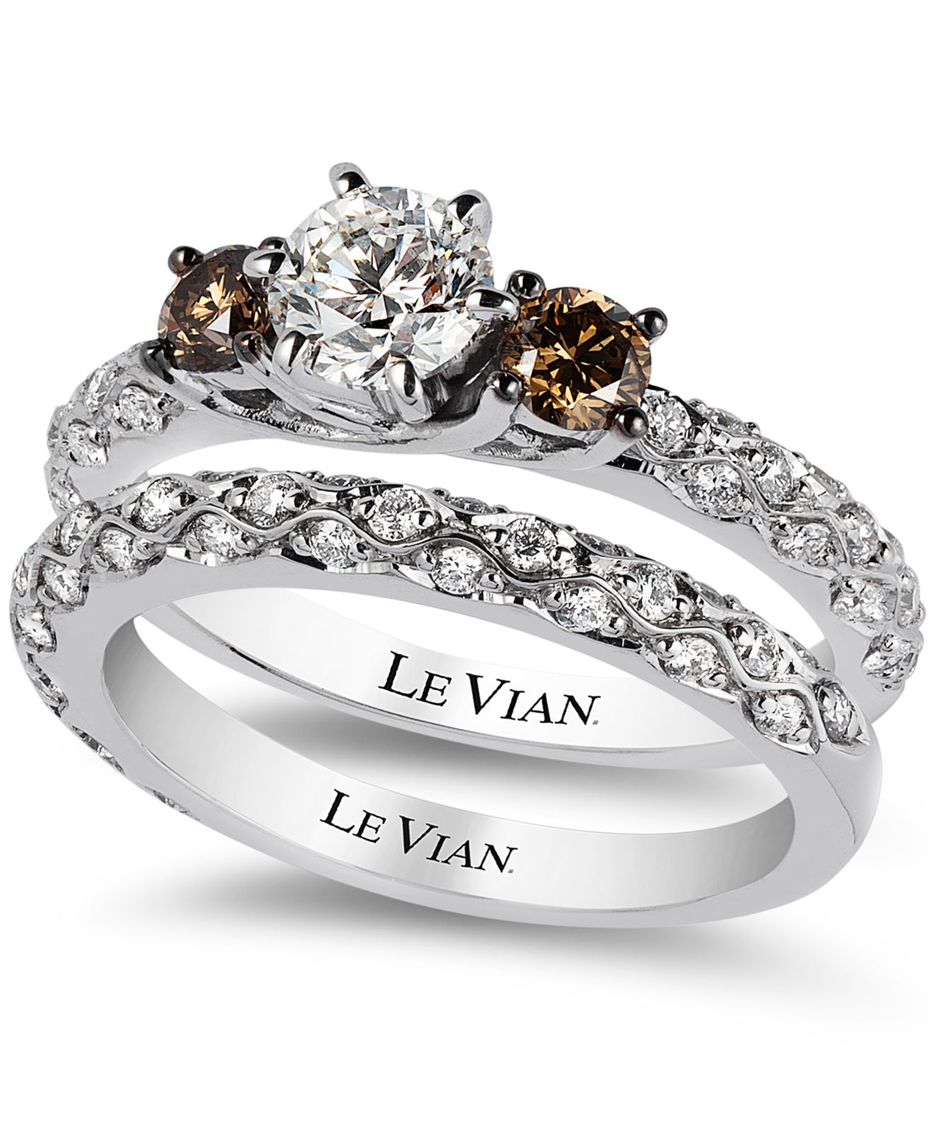 bridal white certified diamond and chocolate diamond engagement ring set in 14k white gold 1 3 8 ct t w