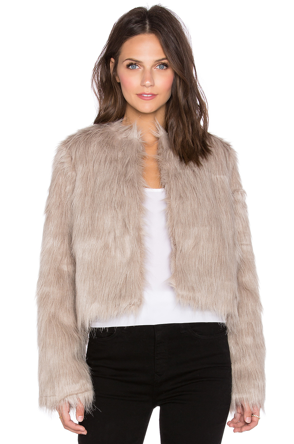 Pink Stitch Faux Sherpa Coat In Gray Lyst