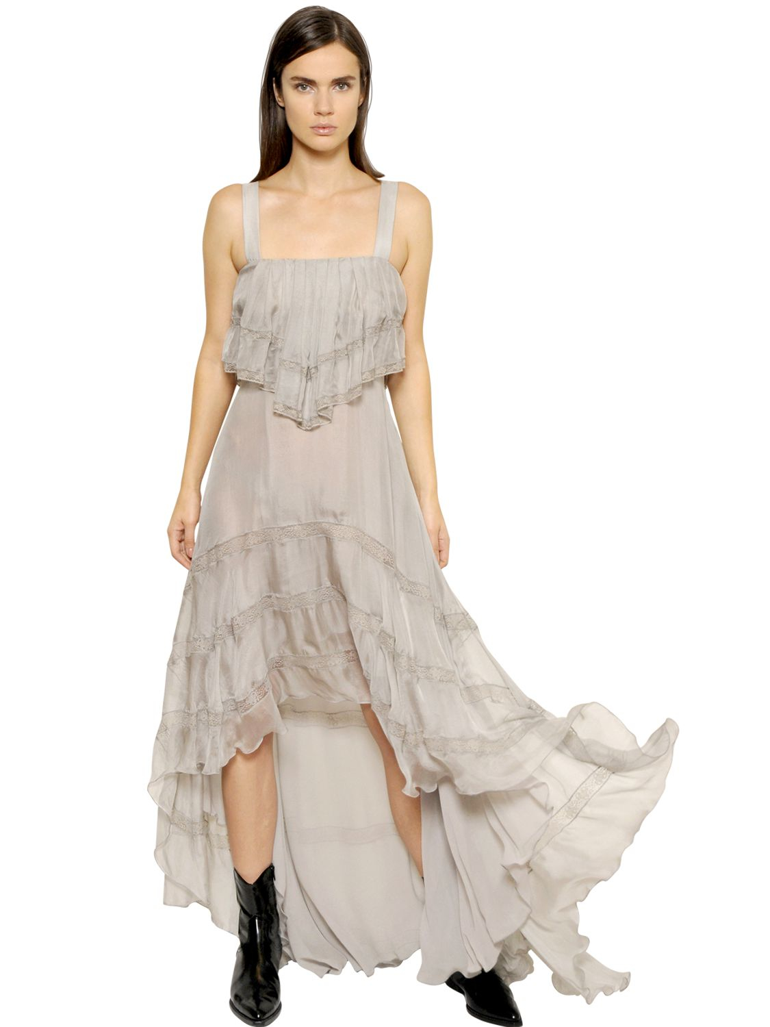 Philosophy Di Lorenzo Serafini Ruffled Silk Georgette