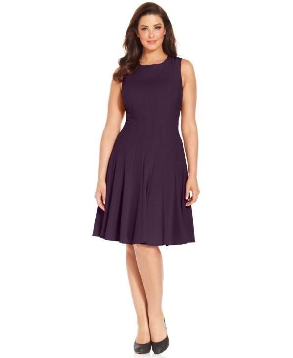 Calvin Klein Size Pleated -line Dress In Blue Lyst