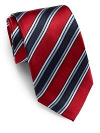 Lyst - Saks Fifth Avenue Striped Silk Tie in Red for Men