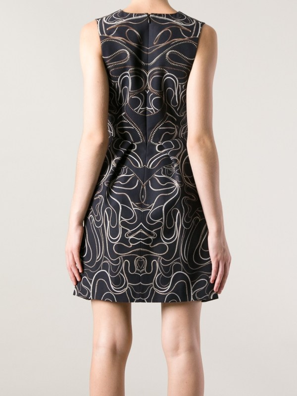 Mcq Zip Print Flared Dress In Black Lyst