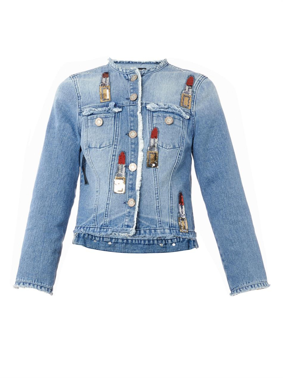 Lyst  House of Holland Lipstickembellished Denim Jacket in Blue