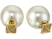 Rebecca minkoff Two Part Pave/pearl Earrings in Gold (Gold ...