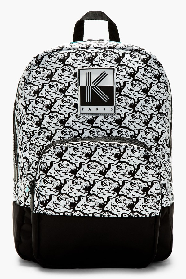 Kenzo White And Black Tiger Print Backpack In Lyst