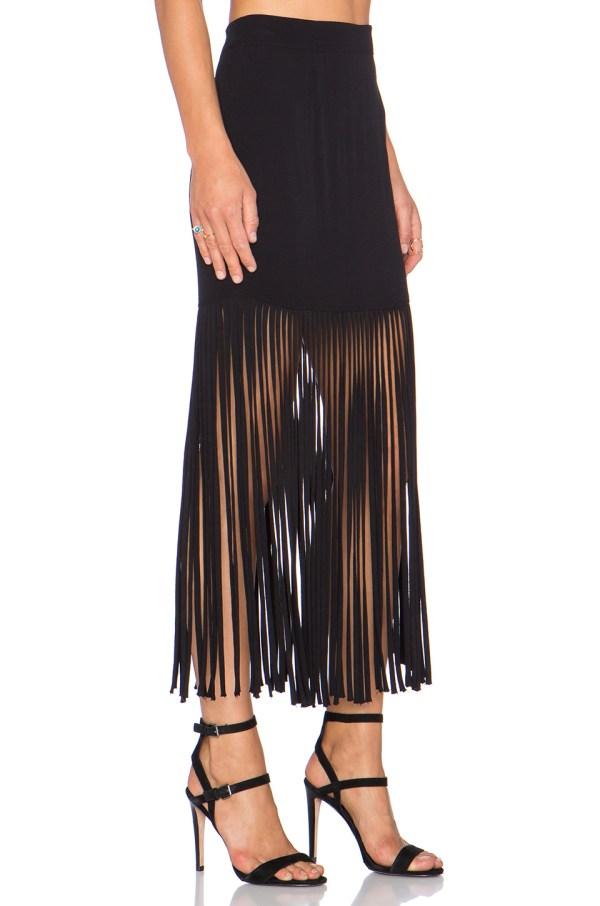 Lyst - Monrow Fringe Maxi Skirt In Black
