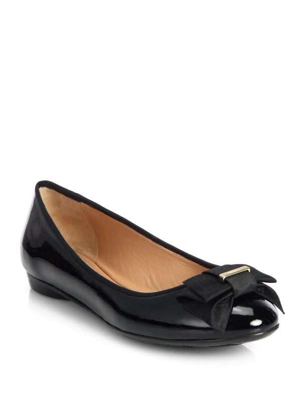 Ferragamo My Knot Patent Leather Ballet Flats in Black Lyst