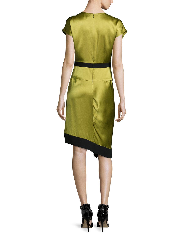 J Mendel Short Sleeve Two Tone Dress In Black