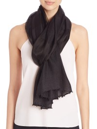 Bajra Striped Silk & Wool Scarf in Black | Lyst