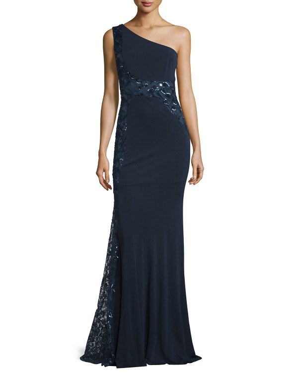 David Meister -shoulder Sequined Embroidered Gown In