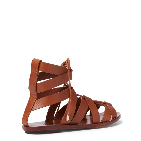 Polo Ralph Lauren Jackie Leather Sandal In Brown - Lyst