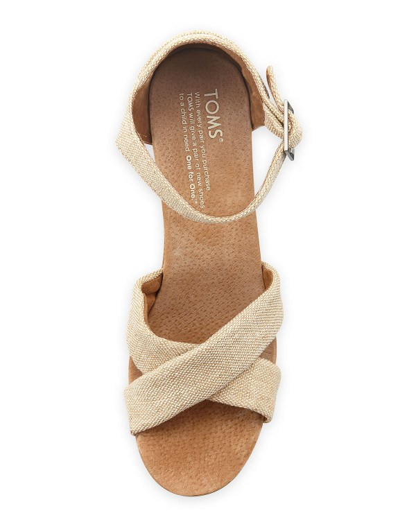 Toms Fabric Cork Wedge Sandal In Natural - Lyst