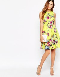 Lyst - Warehouse Yellow Floral Prom Dress in Yellow
