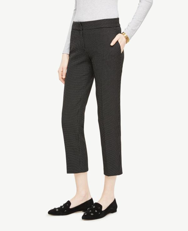 Ann Taylor Tall Ankle Pant In Pindot - Kate Fit Black Lyst