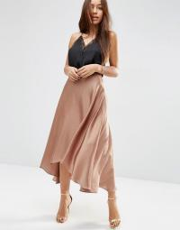 ASOS Midi Skirt In Satin With Splices in Copper (Brown) - Lyst