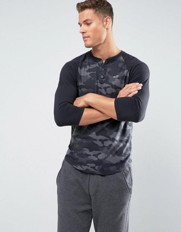 Hollister Cotton 3 4 Sleeve Henley Baseball Slim Fit In Black Camo Men - Lyst