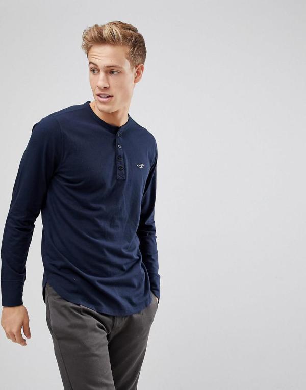 Hollister Logo Henley Long Sleeve Top In Navy Blue Men - Lyst