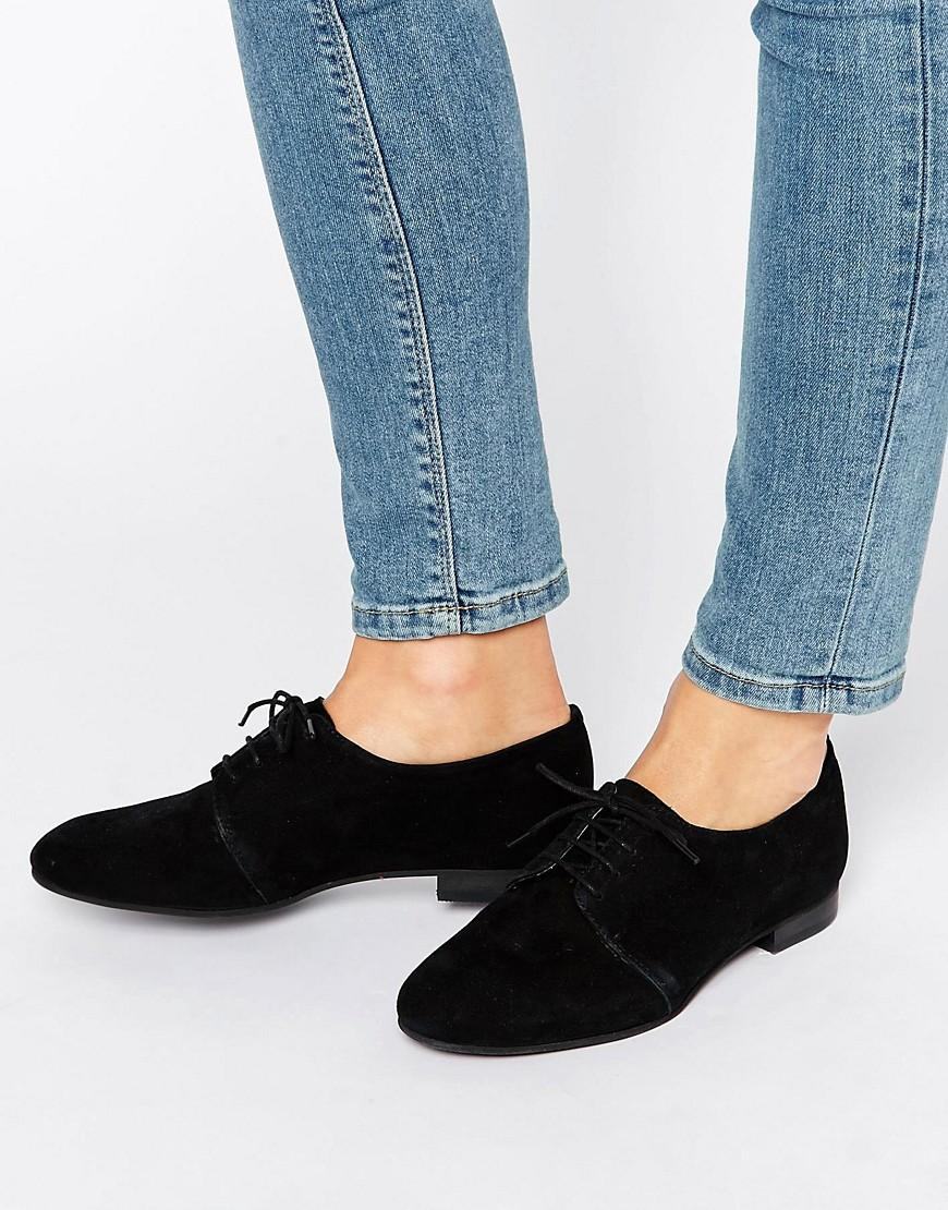 Lyst Office Farley Lace Up Suede Flat Shoes In Black