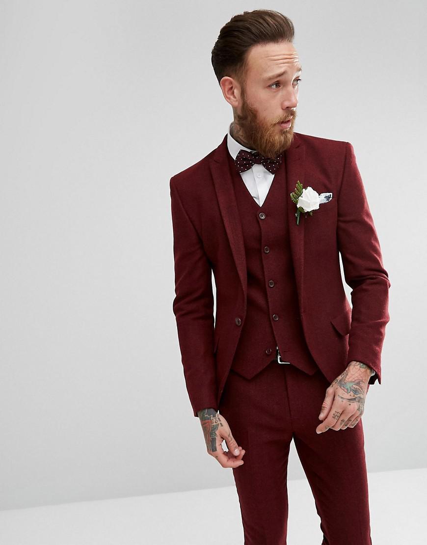 ASOS Wool Wedding Super Skinny Suit Jacket In Wine Herringbone in Red for Men - Lyst