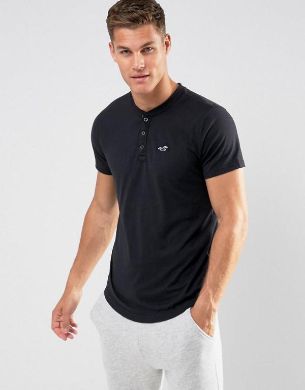 Hollister Henley T-shirt Slim Fit Icon Logo In Black Men - Lyst