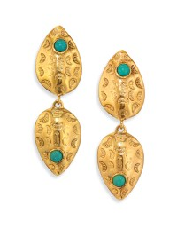 Lizzie fortunato Concho Turquoise Drop Earrings in ...