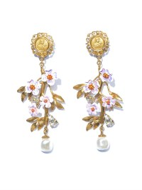 Lyst - Dolce & Gabbana Blossom Flower and Pearl Earrings ...