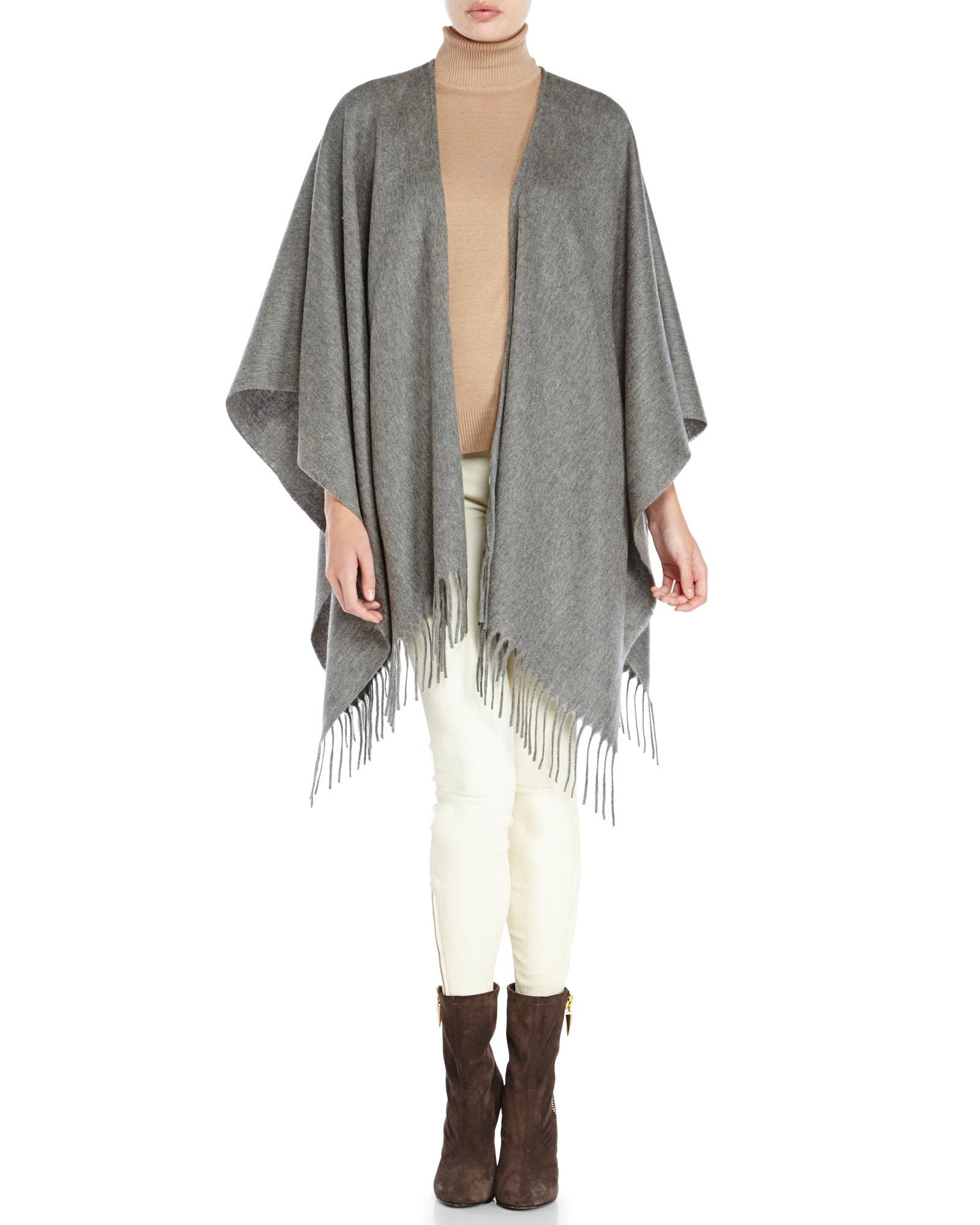 Portolano Ruana Fringe Trim Wool Shawl In Gray