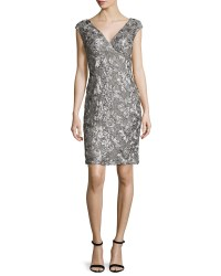 Lyst - Marina Cap-sleeve Sequined Lace Cocktail Dress in Gray