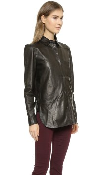 Lyst - Vince Leather Button Down Shirt - Black in Black