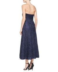Lyst - Kay Unger Strapless Lace Tea-length Cocktail Dress ...